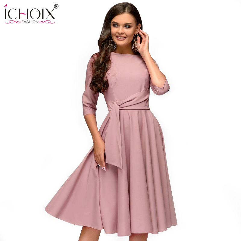 ICHOIX 2019 Spring Summer Women Casual Dresses Elegant A Line Solid Dress Ladies Slim Office Party Dress Sashes Womens Clothing