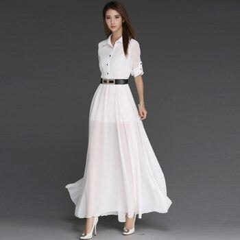 HANZANGL wiosna lato 2019 kobiety ubierają 3/4 rękaw pas koszula sukienka pracy Ofice podziel długa sukienka w dużym rozmiarze Vestidos biały/czarny