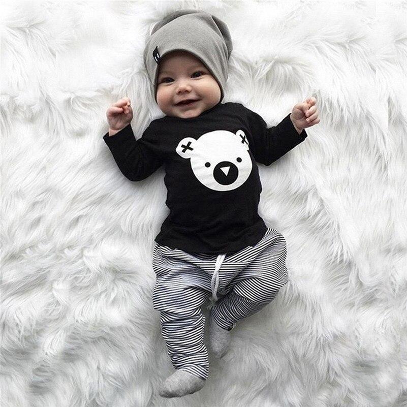 Winter 2018 kinder kleidung neue stil Kleinkind Baby Mädchen Jungen Cartoon Koala T-Shirt Tops Gestreiften Hosen Outfits Set für baby QC3