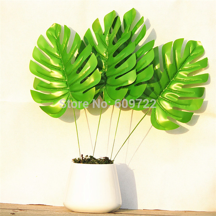 Christmas latex 45cm artificial palm plant tree branch for Real plants for home decor