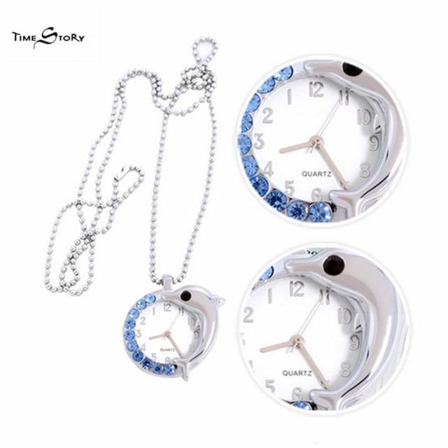 2015 Luxury Brand Time Story Women's Necklace Quartz Analog Rhinestone Anti Clockwise Watches Women Waterproof Watch