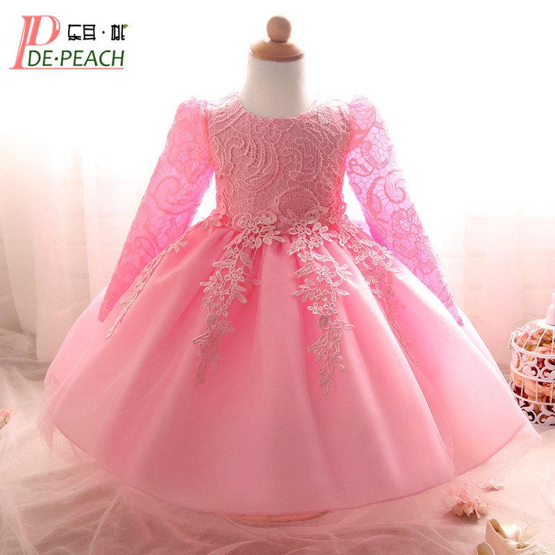 2018 Kids Girls Birthday Party Wedding Princess tutu Dress For Baby Girls Clothes Lace Flowers Children Bridesmaid Elegant Dress 2017 new high quality girls children white color princess dress kids baby birthday wedding party lace dress with bow knot design