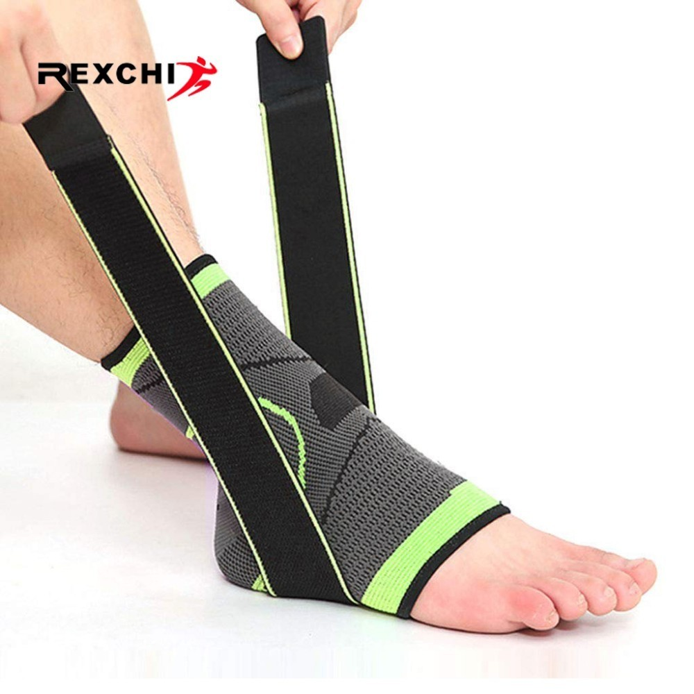 REXCHI 1 PC Pressurization Sports Ankle Brace Support 3D Weave Adjustable Elastic Bandage Foot Strap Protective Gear Gym Fitness
