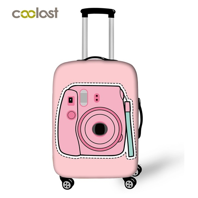 18-28 Inch Cute Pink Camera Suitcase Cover Women Travel Luggage Suitcase  Protector for Girls Trolley Durable Protective Cover ca92402521fc9