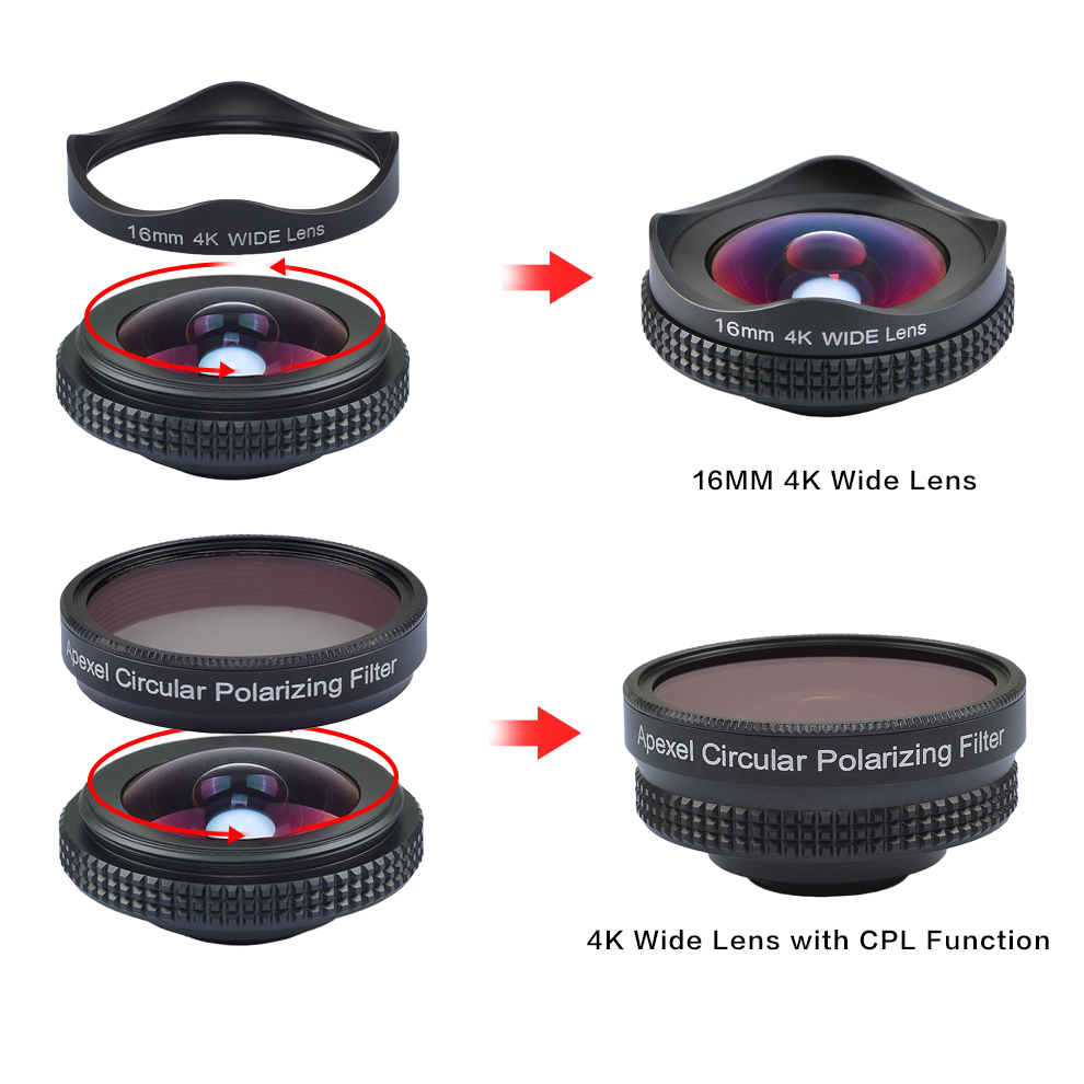 APEXEL HD 16mm 4K wide angle circular polarizing Filter wide  CPL lens mobile phone Camera Lens kit for iPhone 6 6s plus xiaomi 5
