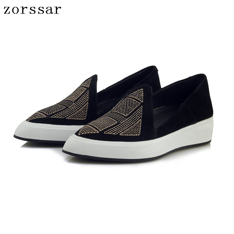Zorssar 2019 Autumn women flats shoes Pointed women platform shoes   leather     suede   casual shoes slip on flats Creepers footwear