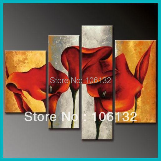 Framed 4 Panel Huge High End Red Calla Lily Paintings Wall Art ...