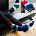 Otoño invierno colorido de la manera del algodón caliente de los hombres de béisbol respirable absorbente happy socks onda rayas clásico calcetín 5 colores