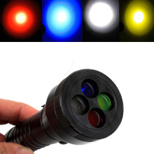 Powerful LED Flashlight Cree XML T6 Signal Flashlight 4 Colors Filter Light Blue Red Yellow Torch Lamp for Work Signal Light