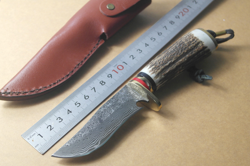 Handmade Damascus steel hunting knife Damascus Steel camping Outdoor Tool fixed knife with Leather sheath цена