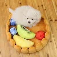 Pet House Plush Cat Dog Fruit Pad Puppy Nest Kennel Winter Warm Creative Pet Pad Dual use Chew Toy Fruit Mat Soft Tart Bed Dog