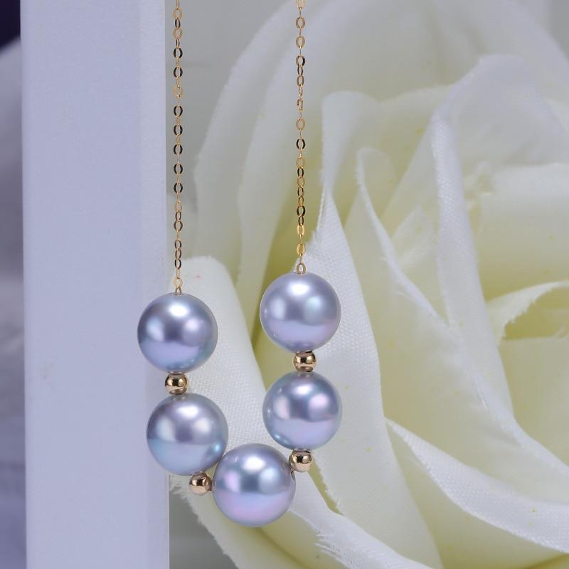 Image 2 - YS 18 k 純金海水養殖 8 9 ミリメートルアコヤ Hanadama 真珠のネックレスネックレス   -