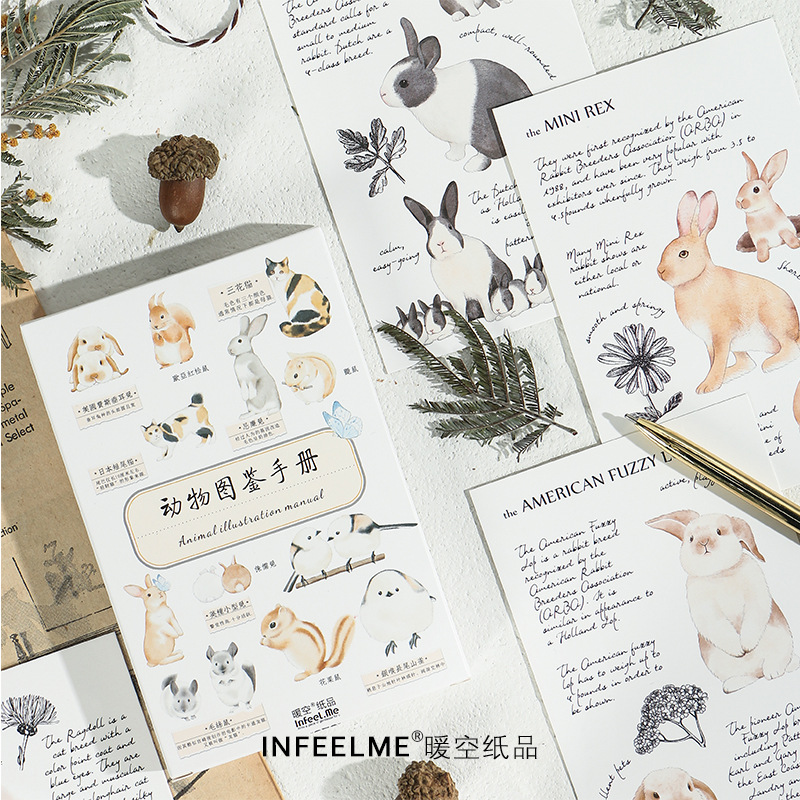 30 Sheets/Set Animal Illustration Manual English Postcard/Greeting Card/Message Card/Birthday Envelope Gift Card
