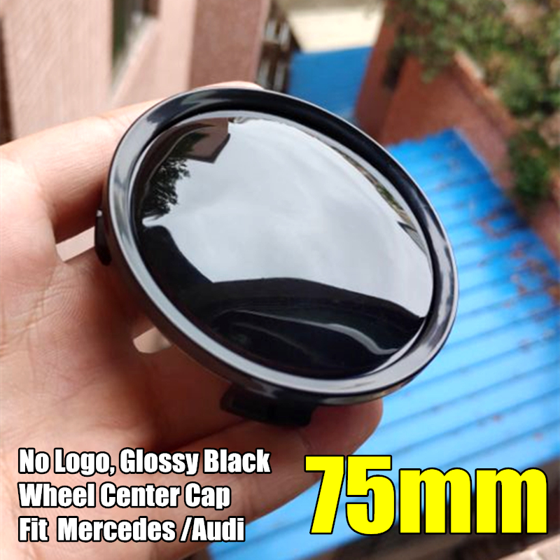 4 Pcs 75mm Glossy Black Alloy <font><b>Wheel</b></font> Center Cap Hubcap Rim Cover for Mercedes Benz W202 W203 <font><b>W124</b></font> for Audi A4 image