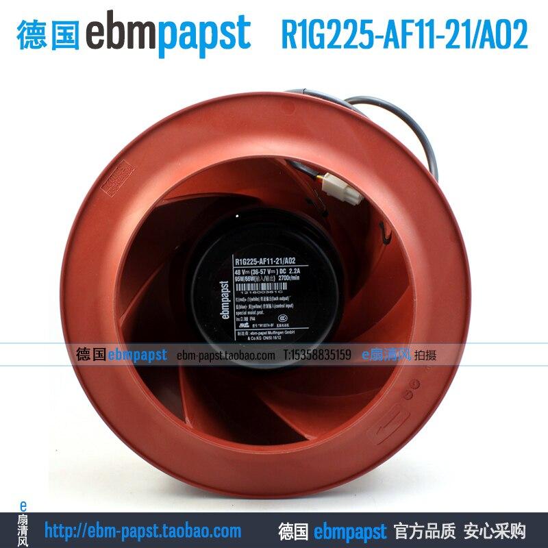 Original new ebm papst R1G225-AF11-21 A02 DC 48V 2.2A 95W 66W 225x225mm Server Round fan new original ebm papst iq3608 01040a02 iq3608 01040 a02 ac 220v 240v 0 07a 7w 4w 172x172mm motor fan