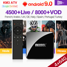 Arabic IPTV France Italy SUBTV Box KM3 Android 9.0 4G+64G USB3.0 BT Dual-Band WIFI IPTV 1 Year Canada Spain France Arabic IPTV