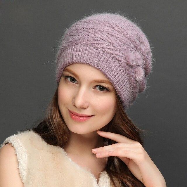 Шляпа Женский Новый Список Теплый Толстый Плюс Бархат Зимой Шерстяные Шляпы Кролика Смешивания Вязаная Мода Cap Повседневная Женщин Шапочки