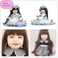 Envío Libre 55 cm 22 ''Muñecas Reborn Bebés Con Pelo Largo comercio al por mayor Buen Precio Niño Renacido Doll Mejor Regalo de Navidad Para niños