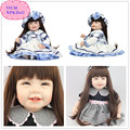 Free Shipping 55cm 22'' Reborn Dolls Babies With Long Hair Wholesale Good Price Reborn Toddler Doll Best Christmas Gift For Kids