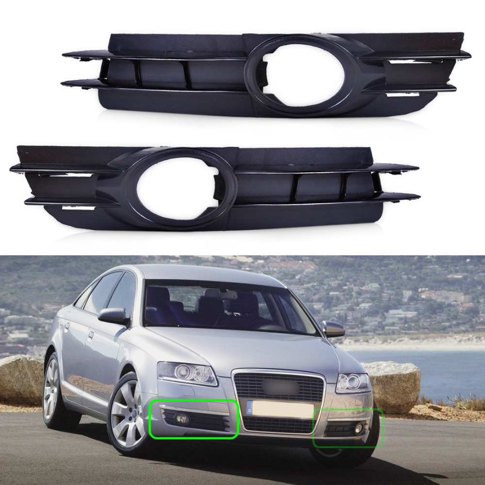 Beler 2x Front Fog Light Lamp Grill Grille For Audi A6 And