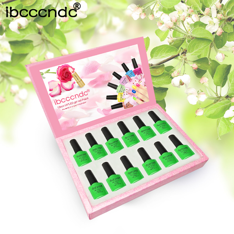 купить 12pcs/lot UV Gel Nail Polish Green Series Semi Permanent Nail Primer Gel Varnishes Lacquer Base Top Coat Gelpolish with Gift Box онлайн