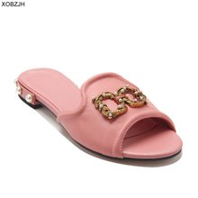 Women Shoes Summer Flat luxury Sandals 2019 Brand Designer G Sandals Pink Ladies Genuine Leather Sandals Slippers Shoes Woman цены онлайн