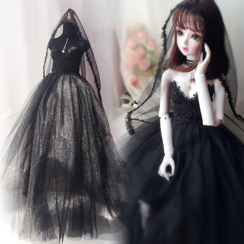 NEW Black Long skirt Wedding dress Dress 1/3 1/4 BJD SD MSD Doll Clothes handsome fur collar black woolen coat for bjd doll 1 4 1 3 uncle bjd sd msd doll clothes cm70