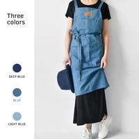 3 Colour Cotton Cowboy Cleaning Apron Adult Gardening Pocket Apron for Woman Kitchen Cooking Coffee Shop Florist Artist Homewear