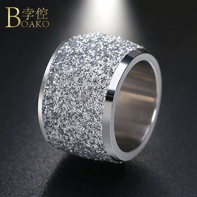 BOAKO Silver/Rose Gold Color Stainless Steel Rings 16mm Frosting Surface Big Wed