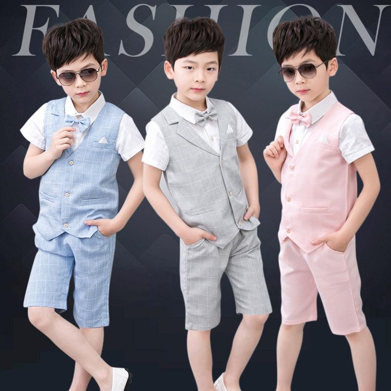 High quality boy clothes gentleman suit children bowknot male short sleeve shirt + vest + pants children's boys clothing 3 sets high quality 3 11yrs boys