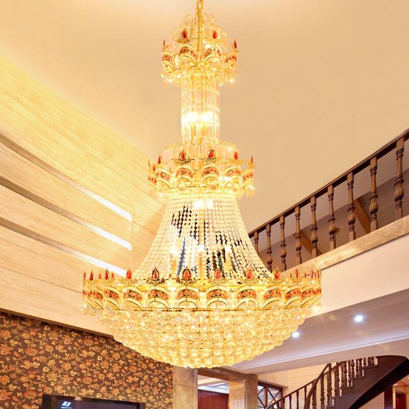 Большой современный золото хрустальные люстры огни приспособление американские Золотой хрустальная люстра светодиодный свет 3 белый свет