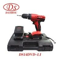 DS 14,4 В литиевых Rrechargeable ручная дрель DS14DVD LI шуруповерт Ударная дрель драйвер Мощность инструмент 1 предмет