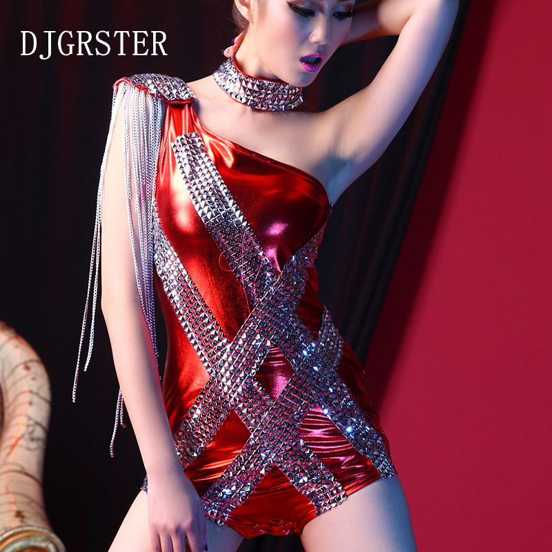 DJGRSTER Bodysuit Rhinestone Sexy DJ Singer DS Costumes High Dance Clothing Fork Tassel Christmas Jazz Half Shouder Costumes Bar