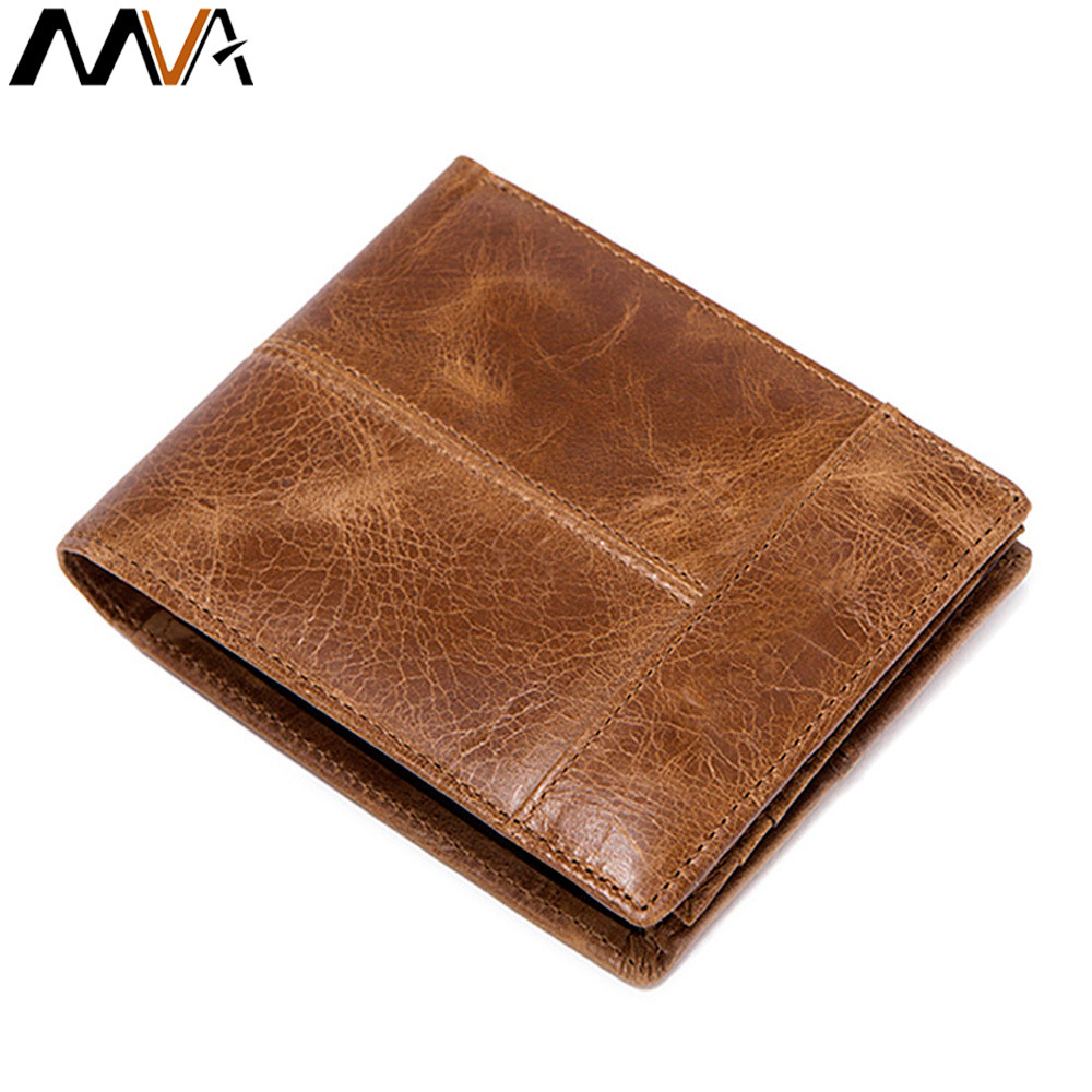 MVA Top Genuine Leather Men Wallets Cow Leather Short Desigh Card Holder Male Purse Fashion Brand High Quality Simple Men Purse ivotkova top quality cow genuine leather men wallets fashion splice purse dollar bag price carteira masculina free shipping gift