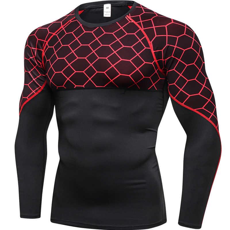 Фото Новая быстросохнущая футболка для бега Мужская Фитнес плотно спортивная рубашка