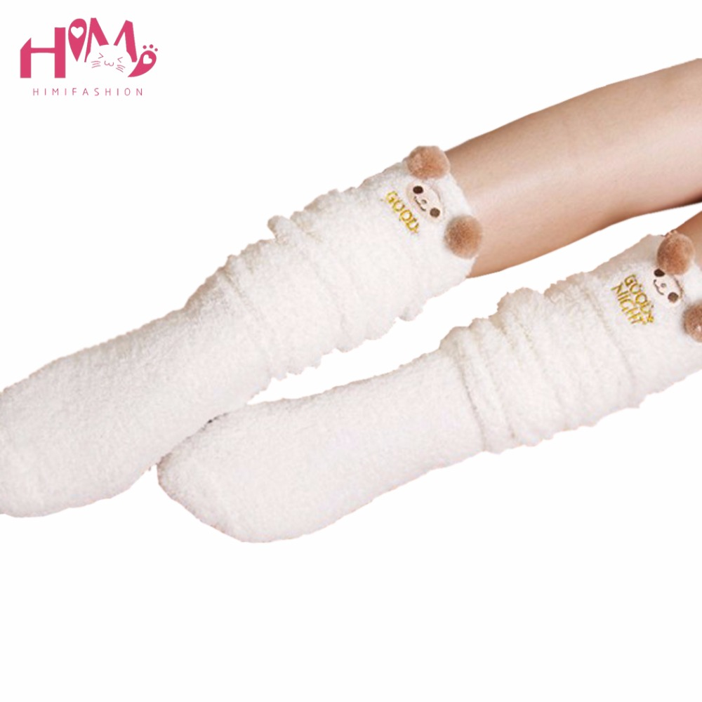 Cute bear ear fleece winter stockings jfashion hot sale home wear kawaii