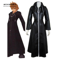 2017 Customize Free Shipping Costume Kingdom Hearts Cosplay Roxas Cosplay Costume Faux Leather Cloak with Chain For Free Cosplay