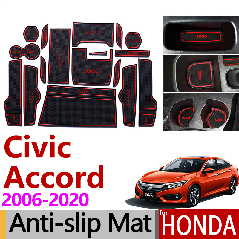 Anti-Slip Rubber Gate Slot Cup Mat for <font><b>Honda</b></font> <font><b>Accord</b></font> 2008 - 2010 10 X 2018 - 2020 Civic 8 2006-2011 10 <font><b>2016</b></font> - 2020 <font><b>Accessories</b></font> image