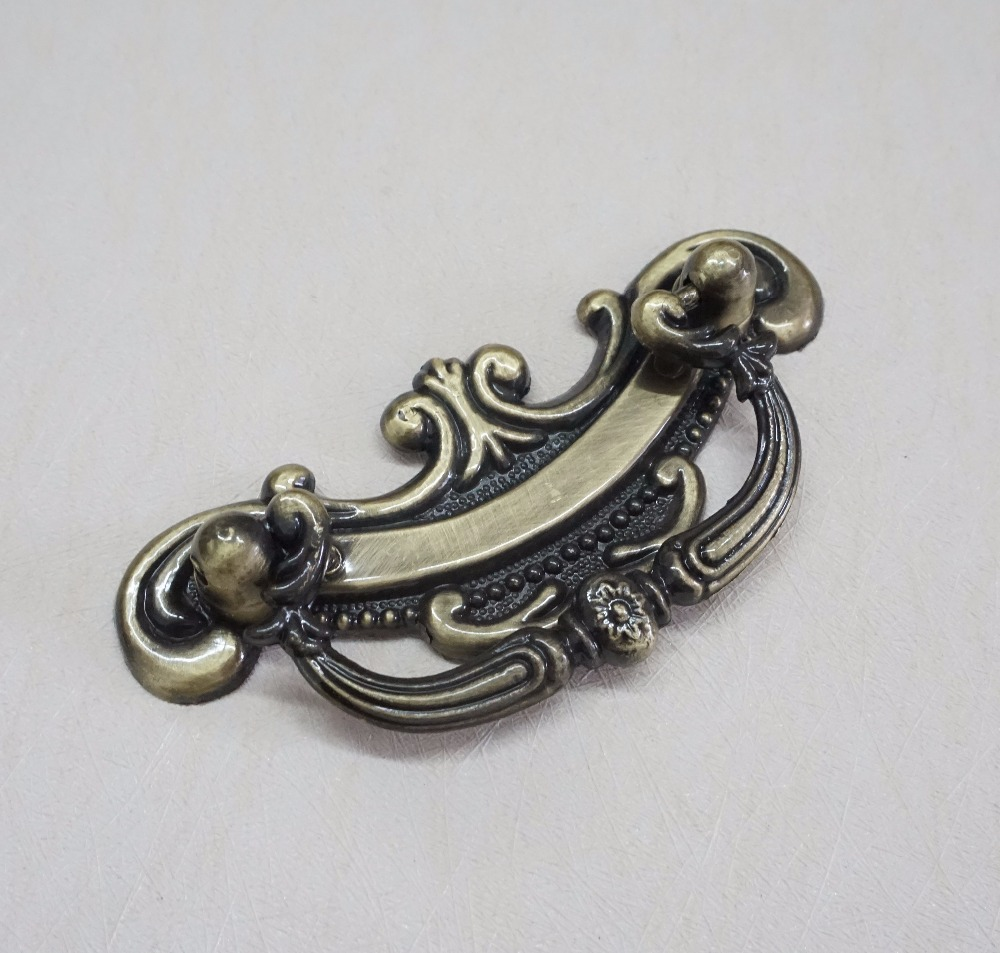 2 .5 3.75 Vintage Style Drop Bail Dresser / Drawer Handles Pulls Knobs Antique Bronze Cabinet Door Knob Pull Handle 64 96 mm dresser pulls drawer pull handles square kitchen cabinet decorative knobs antique bronze vintage style furniture hardware