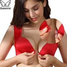 Queenral Plue Size Bras For Women Underwear 34 52  CDE Cup BH Front Closure Big Size Bralette Wire Free Vest Brassiere Lingerie