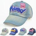 Весной и летом детские письмо Друг вышивка бейсболка 2-8 лет мальчиков и девочек ретро демин hat открытый вс шляпа