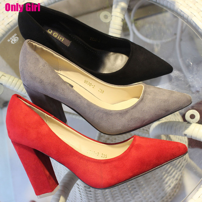 2015 summer hot classic pointed toe Suede high heels spring soft nubuck leather high quality comfort square heels women shoes new hot spring summer high quality fashion trend simple classic solid pleated flats casual pointed toe women office boat shoes