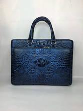 100% подлинная крокодиловой кожи портфель мужчины сумку для ноутбука роскошные aligator кожа кожа мужчины деловая сумка красочный Синий