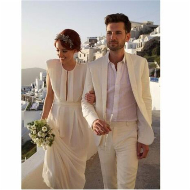 Wedding Summer Ivory Linen Mens Suits Beach Wedding Prom Tuxedos ...