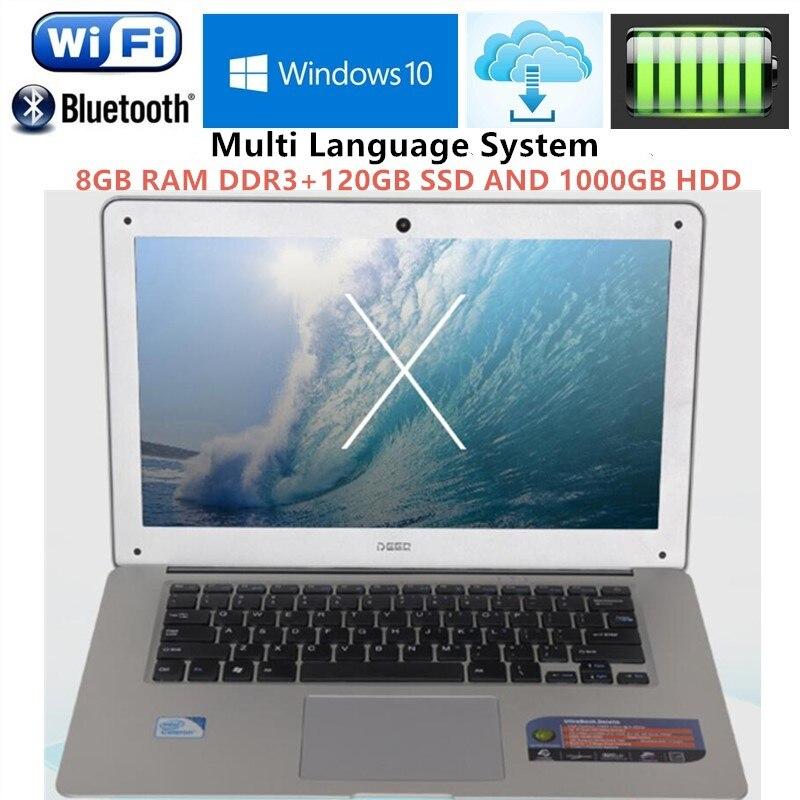 """8GB RAM & 1TB HDD+120GB SSD N3520 Quad Core Laptops Computer Notebook 14.1""""1920*1080P Screen Bluetooth WIFI Mini HDMI Windows 10"""