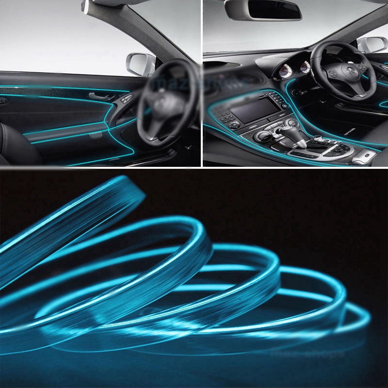 2M 12V EL Wire ICE BLUE Cold light lamp Neon Lamp Car Atmosphere Lights Unique Decorative Lamp Strip Cold Light For Ford VW BMW