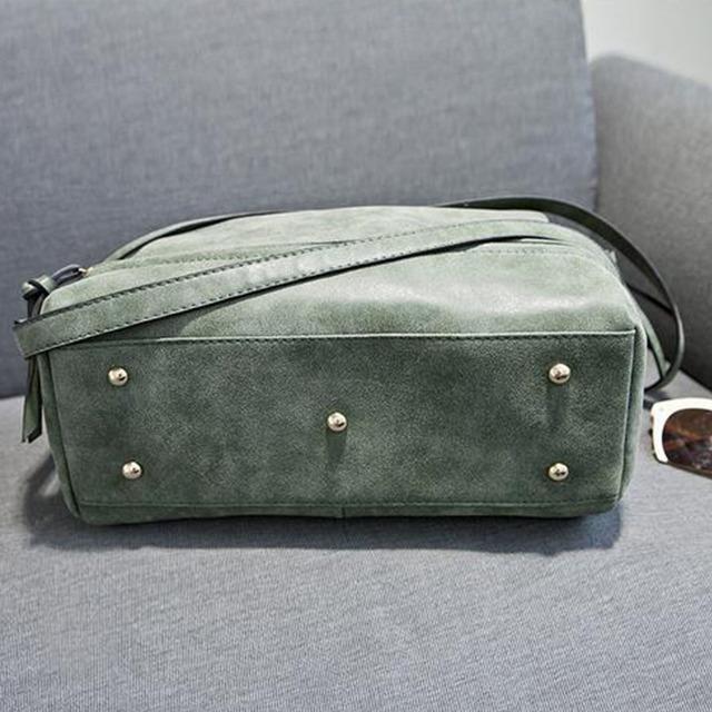 ACELURE Women pu leather handbags female vintage nubuck crossbody bags green tote bag bolsa ladies shoulder bags motorcycle bag