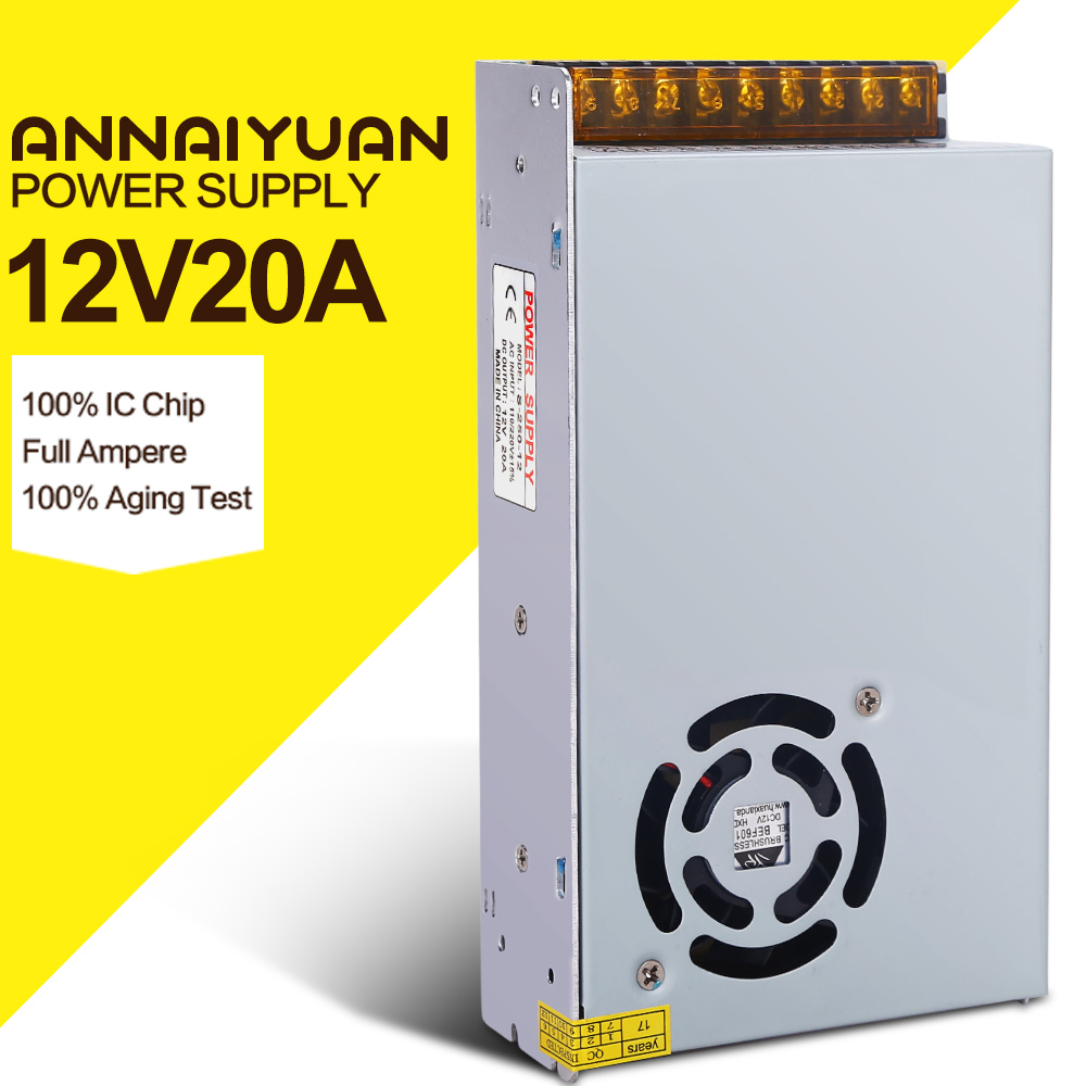 20A  240W  DC Power Transformers 12V 20A 240W AC100 -240V S-120-12 LED drive switc Power Supply adapter for RGB LED strip 12V20A ac 85v 265v to 20 38v 600ma power supply driver adapter for led light lamp