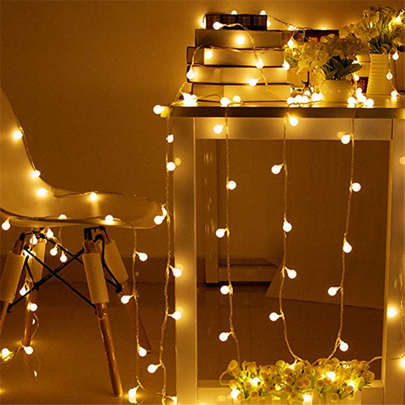 New 1.5M 3M 6M Fairy Garland LED Ball String Lights Waterproof For Christmas Tree Wedding Home Indoor Decoration USB 5V Powered