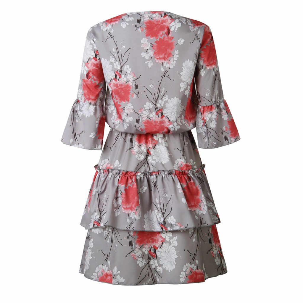 2019 Vestito Da Estate Delle Donne Boho Stampa Ruffles Lace Up Mezza Manica Mini Vestito Femminile Con Scollo A V Del Partito di Sera Del Vestito Da A-Line Abiti